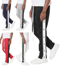 Snap Button Track Pants Sweat Pants with Elastic Waist and D