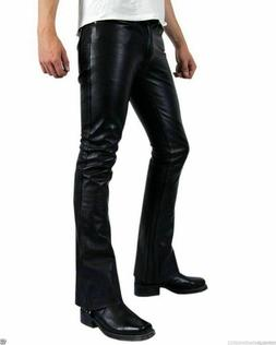 Men Authentic Lambskin Leather Bell Bottom Pant Slim Fit Han