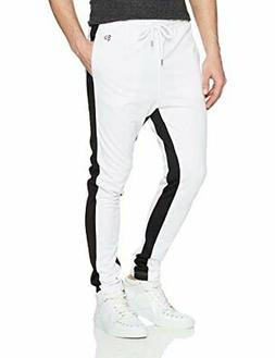 Southpole Men's Athletic Skinny Track Pants Open Bottom,, Wh