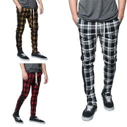 Victorious Men's Plaid Checkered Ankle Zipper Drawstring Tra