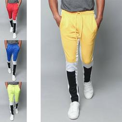 Men's Slim Fit Color Blocked Stretch Sports Workout Techno T