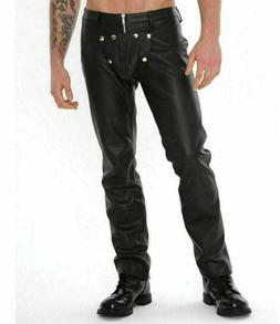 Mens Real Leather Pants With Detachable Front Crotch Gay Pan